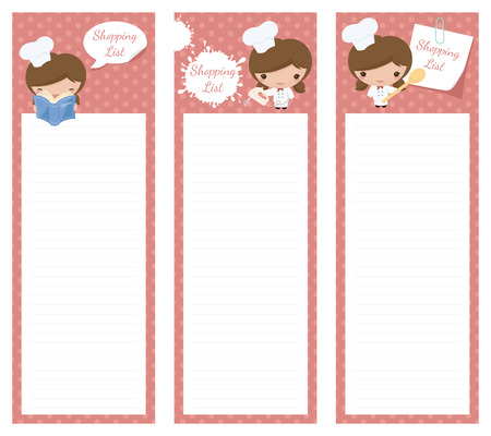 Shopping list pad design with chef.