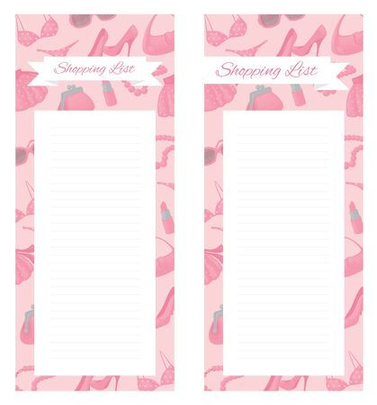 shopping list: Shopping list pad design with girly accessories. Illustration