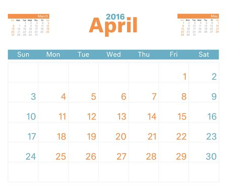 monthly calendar: 2016 monthly calendar planner for April.