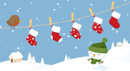 christmas scene: Little robin on a clothesline with stockings hanging out to dry.