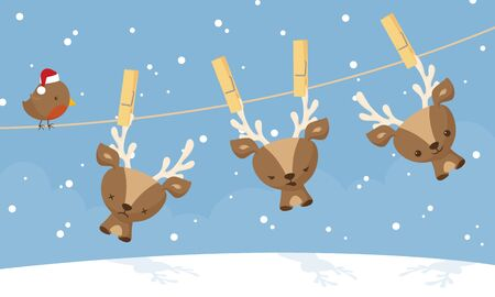 clothespeg: Little reindeer hanging out to dry on a clothesline.