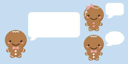 speech bubble: Gingerbread people with speech bubbles. Illustration