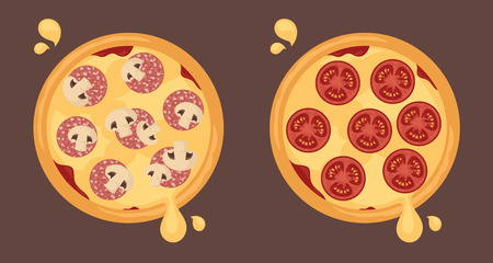 cheesy: Cheesy pizzas with pepperoni, mushrooms and tomatoes.