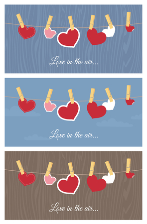 clothes pegs: Hearts on a line design elements.