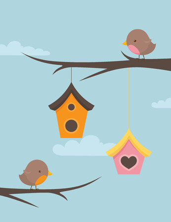 Little birds on branches with hanging bird houses.