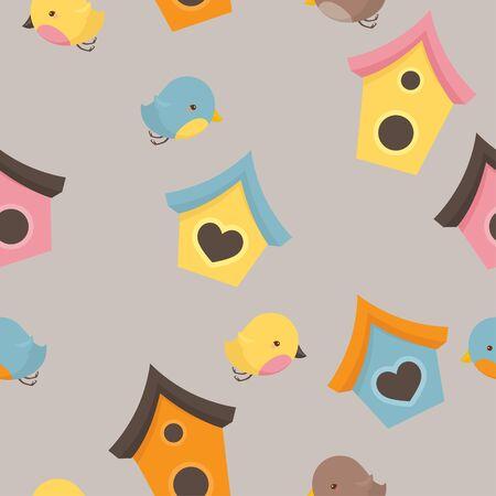 Seamless bird and birdhouse colorful wallpaper design.