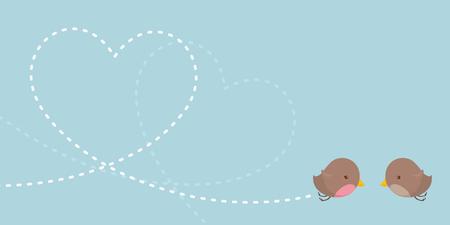 Little lovebirds flying a heart shaped trail.