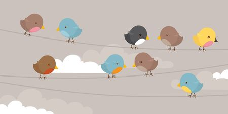 Lots of brightly coloured birds on a line. Illustration