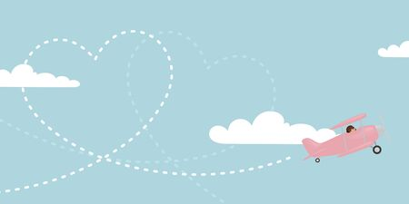 vapor trail: A pink biplane trailing a heart in the sky.