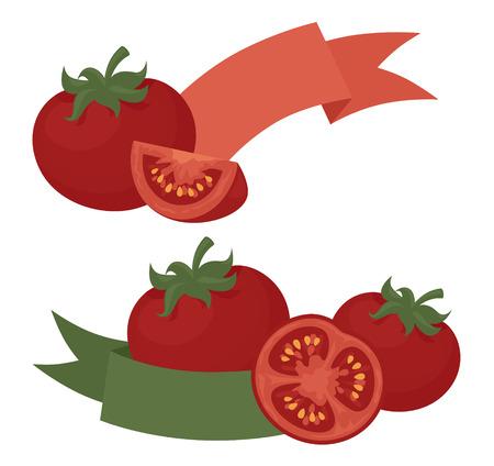 Tomato design with ribbon.