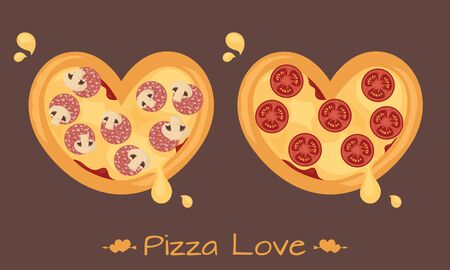 Heart shaped pizzas for sharing the love. Illustration