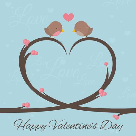 Little birds in love on a heart shaped tree branch. Illustration