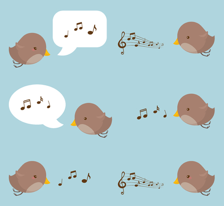 Birds tweeting their music with musical notes and speech bubbles.