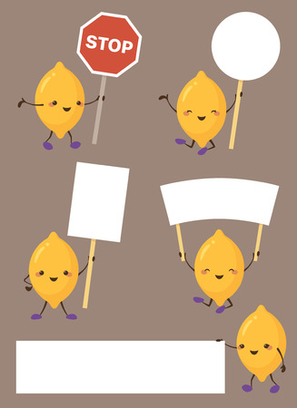 Lemon characters holding up signs.