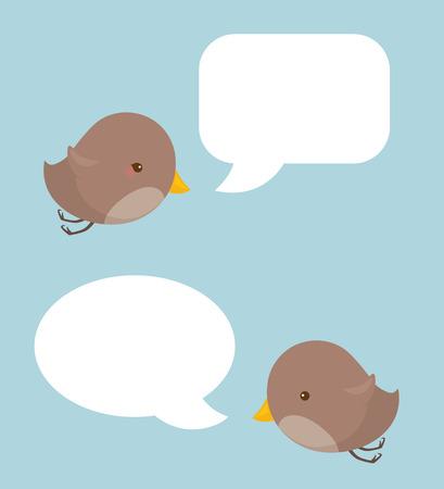 Little birds with blank speech bubbles