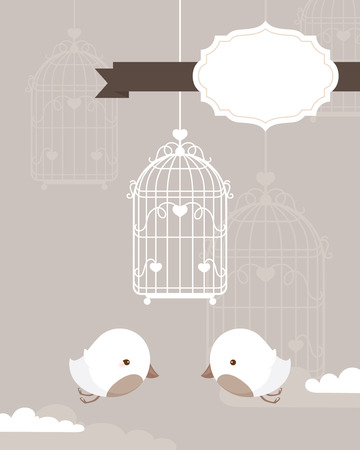 White birds and cage with text frame for your stationery.