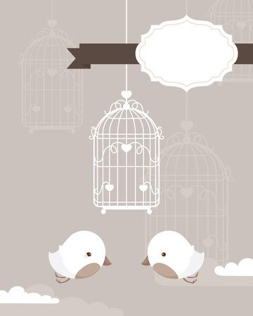 Uccelli bianchi e la gabbia con cornice di testo per la cancelleria. Archivio Fotografico - 60987045