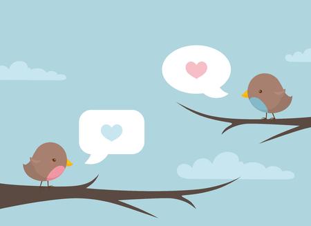 Piccoli piccioncini tweeting loro amore dalla cima degli alberi. Archivio Fotografico - 60987047