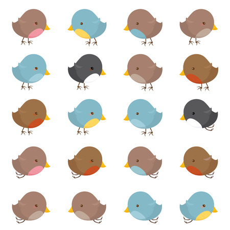 A collection of little birds. Illustration