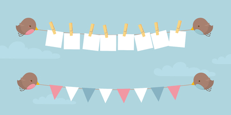 Little birds holding up your message and some bunting.