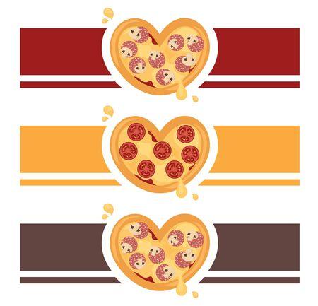 A forma di cuore per il vostro disegno pizzeria ristorante o da asporto. Archivio Fotografico - 60987053