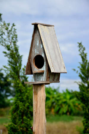 Small wooden birdhouse in the garden photo
