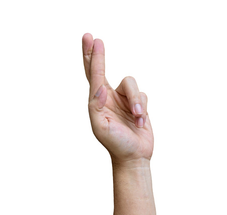 finger crossed: Finger crossed hand conceptual sign isolated on white background