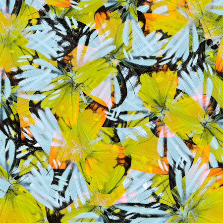 artistry: Yellow and White background texture made of Orange Gull Butterflies in a grace artistry