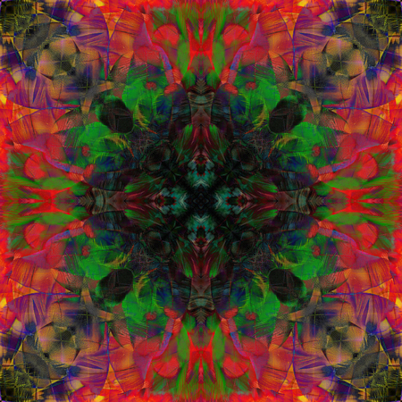 ararauna: An amazing colorful background made of Scarlet Macaw parrot bird feathers, exotic texture Stock Photo