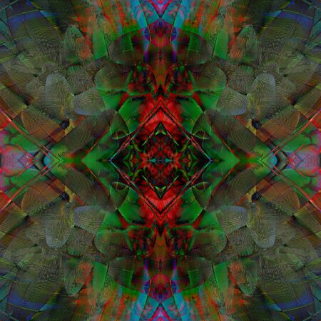 fascinate: Fascinated colorful background made of Green-winged Macaw feathers, beautiful texture bird wing