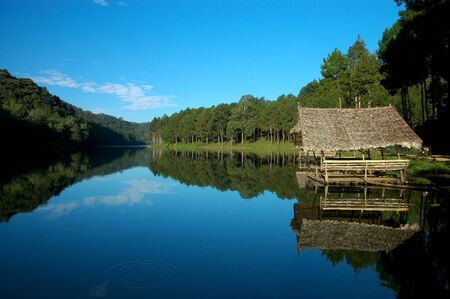 Pang Ung, Mae Hong Sorn, Thailand, the most beautiful lake and scenic in high land, with calm water and blue sky.
