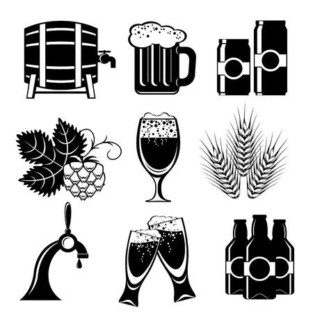 cebada: conjunto de iconos de la cerveza. imagen de la silueta blanco y negro