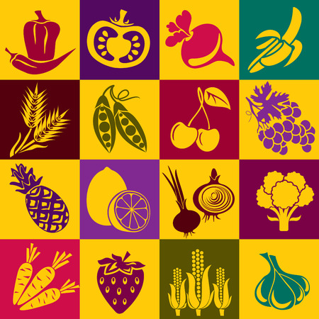 Seamless background with colorful symbols of fruits and vegetables. Alternation of light and dark cells