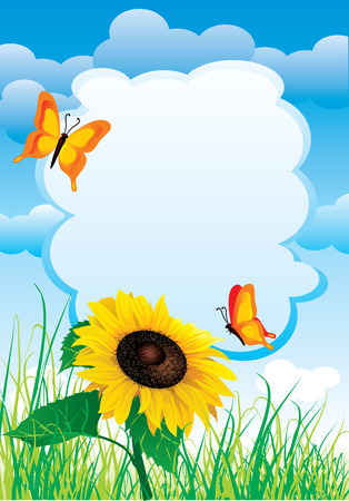 scenic background: background with summer landscape with sunflowers and butterflies. The template for placement of text
