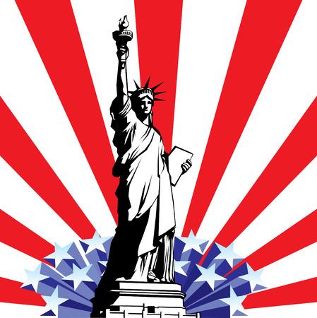 Bild der American Symbole der Freiheit. Freiheitsstatue auf dem Hintergrund einer stilisierten Flagge USA  Vektorgrafik