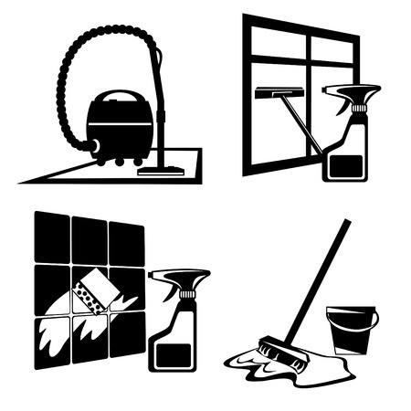 sanificazione: Icone silhouette di nero, pulizia, il lavaggio e manutenzione di pulizia