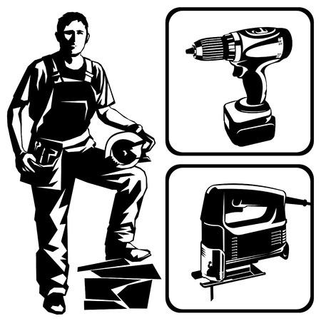 Een werknemer met een power tool. Stock Illustratie