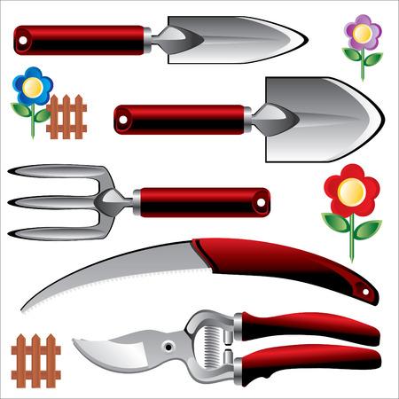 secateurs: Set of garden tools Illustration