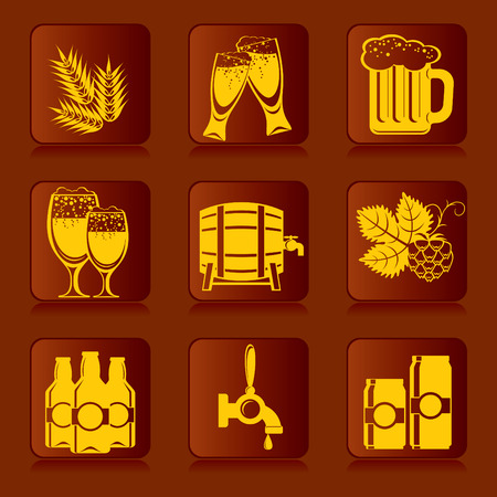 draught: set of icons of beer and ingredients Illustration