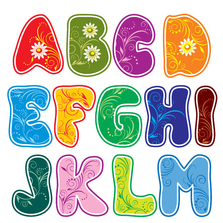 alfabético: Latin alphabet (Part 1) of the color of rounded characters with floral ornament