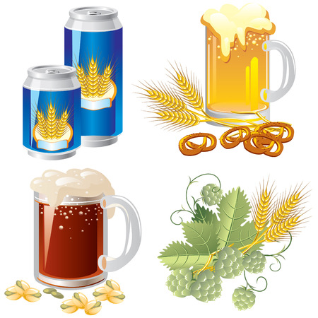 hops: set of images of beer, ingredients and supplements.
