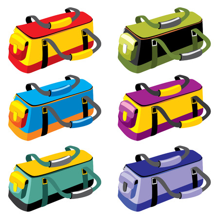 roomy:  set of sports bags in different colors Illustration