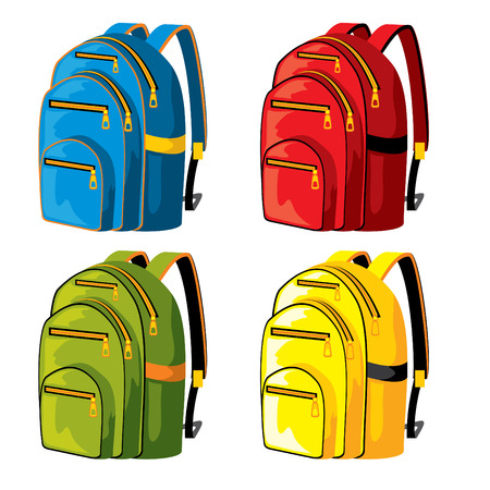 crowded street: set of sport backpacks of different colors Illustration