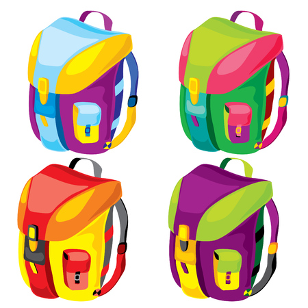 set of sport backpacks of different colors Vector