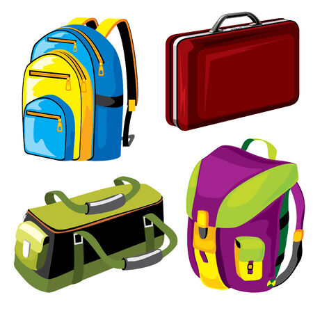 set of  images of bags and backpacks luggage Vector