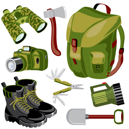hiking boots: set of  images of objects for a dangerous journey Illustration