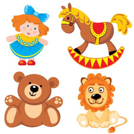 establecer juguetes de los niños  Ilustración de vector
