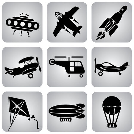 biplane: set of  icons. Air transport and flying machines Illustration