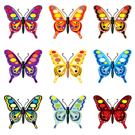 set of  images of colorful butterflies Vector