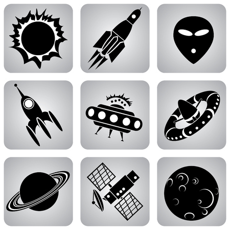 set of  icons. Space transport and flying machines Vector